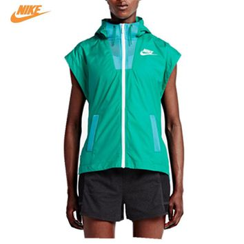Nike Women's Spring Breathable Training Running Vest Green Hoodie 802550-345