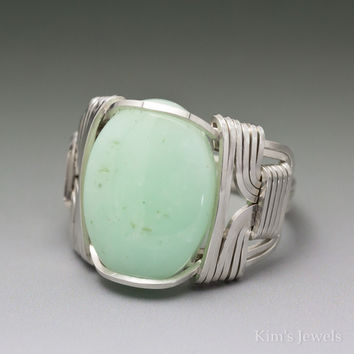 Chrysoprase Sterling Silver Wire Wrapped Cabochon Ring