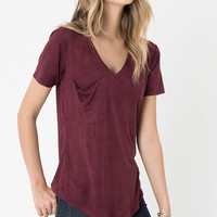 Z Supply Suede Pocket Tee - Berry