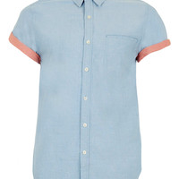 Light Blue Contrast Short Sleeve Oxford Shirt - Men's Shirts - Clothing - TOPMAN USA