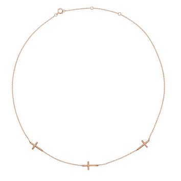 14k Yellow, White or Rose Gold 3 Station Sideways Cross Necklace