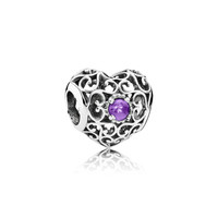 PANDORA | February Signature Heart, Synthetic Amethyst