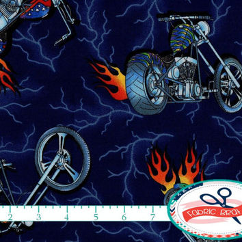 MOTORCYCLES Fabric by the Yard, Fat Quarter BIKES & FLAMES Fabric Navy Blue Fabric 100% Cotton Fabric Quilting Fabric Apparel Fabric t3-35