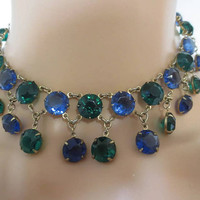Glamourous Bezel Set Vintage  60'S Oversized Sapphire & Emerald Crystal Bibbed Collar Statement  Runway Choker Necklace