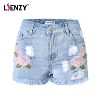 LIENZY Pastoralism Style Women Shorts Jeans 3D Embroidery Stereo Flower High Waist Tassel White Ripped Denim Short Jeans