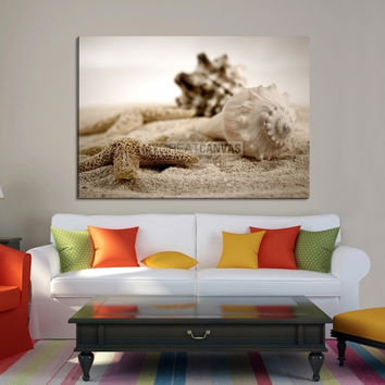 Extra Large Wall Art Canvas Sea Star and Shell on Beach