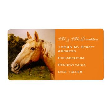 Palomino Horse With White Blaze Art Address Label