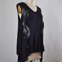 Black Rayon and Leather Tunic Top - Summer Top Tunic - Rayon and Leather Blouse - Dark Fashion