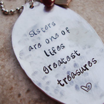 Sisters are treasures upcycled tea spoon hammered hand stamped personalized crimson aqua gemstone and hammered copper heart