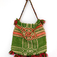 Vintage Woven Hippie Gypsy Bag Purse Tote Wool Greece Boho Handmade hand woven unique gift gift for her FREE SHIPPING