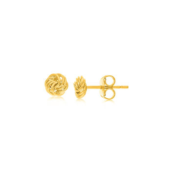 Tiny & Delicate Love Knot Stud Earrings in 14k Yellow Gold