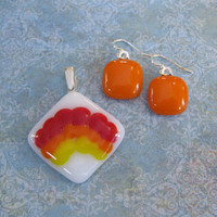 Rainbow Pendant and Orange Earrings, Etsy Fashion Jewelry - Over the Rainbow - 4300 - 3