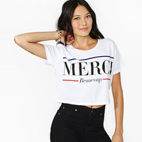 "White ""MERCI"" Print Crop Tank Shirt"