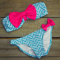 SZ SMALL Sailor's Girl Mint Chevron Pink Bow Bandeau Bikini