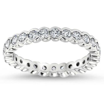 Bezel Set Diamond Eternity Wedding Band - Drop