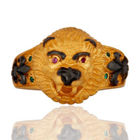 Genuine Cubic Zirconia Sterling Silver Gold Plated Lion Head Mens Ring Jewelry