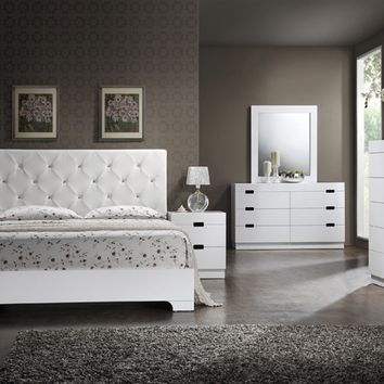 Asia Direct Vicky 5 pc vicky collection glossy white finish wood modern style tufted headboard queen bedroom set