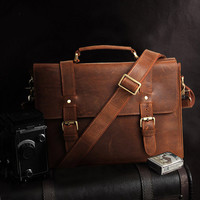 Mens Leather Laptop Messenger Crossbody Satchel Briefcase Bag