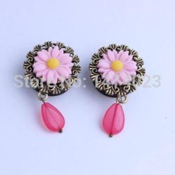 ac PEAPO2Q buy one get one free 2015 new arrival acrylic flower dangle ear plug piercing body jewelry