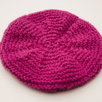 Knitted Beret - Pink Handknit Hat - Women's Handknitted Hat - Fall Fashion Accessories- Womens Winter Accessories - Knit Hat