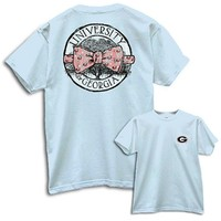 UGA Circle Bow Tie Chambray Comfort Colors T-Shirt | UGA Live Oak T-Shirt | Georgia Comfort Colors T-Shirt|