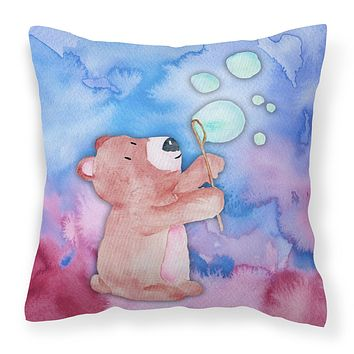 Bear and Bubbles Watercolor Fabric Decorative Pillow BB7347PW1818