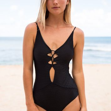 ACACIA Swimwear 2018 Kokomo Mesh One Piece in Black Beauty