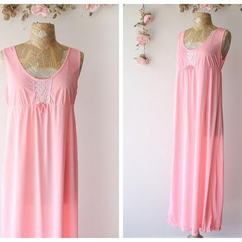 Vintage 1960's Bubblegum Pink Nightgown -  Long Neon Pink Nightie with Lace Accents by Berkiff - Size Medium