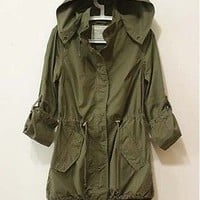 Womens Hoodie Drawstring Army Green Military Trench Parka Jacket Coat Jumper T78