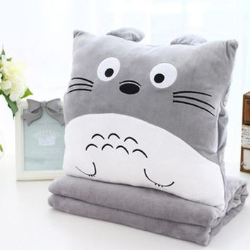 Cartoon Plush Pillow blanket quilt dual use Car nap pillow Air conditioning blanket Coral velvet Cushion Three in one black cat