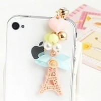 Wisedeal Princess Korea Style Eiffel Tower Flower Heart Crystal Earphone Jack / Dust Plug for Apple Iphone 4, 4s, 5 /Samaung i9100 i9300 / ipad / ipod touch /Mac tap / other 3.5mm Ear Jack