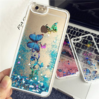 Flowing Liquid Glitter Quicksand and Love Heart Flower Butterfly Case for iphone