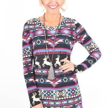 Long Sleeve Violet, Black, and Cream Reindeer Pattern Dress