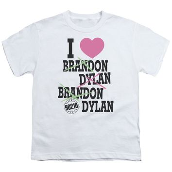 90210 Kids T-Shirt I Love Brandon and Dylan White Tee