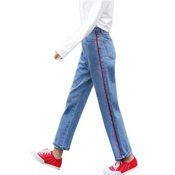 Fashion Red Striped Side Jeans Female Casual Pants Capris 2017 Autumn Spring Pockets Straight High Waist Jeans for Women Bottom