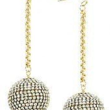 CRYSTAL LINED BALL DROP EARRINGS