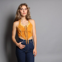 70s FRINGE LEATHER HALTER / Backless 2-Tone Native Corset Top