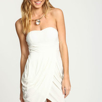 WHITE SWEETHEART PLEATED WRAP DRESS