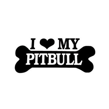 I Love My Pitbull Laptop/car Die-cut Sticker Decal