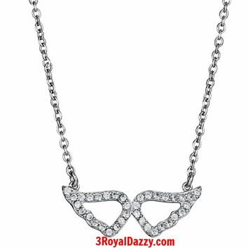 """925 Silver Layer with White Gold on White CZ Womens Angel Wing Pendant Necklace - 16"""" 18"""" inches"""