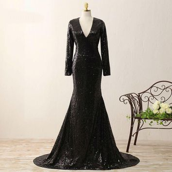 V Neck Long Sleeve Black Shiny Sequined Pageant Gowns Court Train Zipper-Up Evening Dresses
