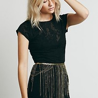 Free People Womens Chain Fringe Skirt Belt