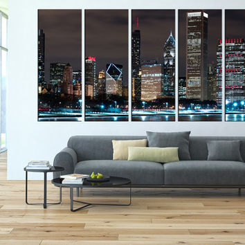 chicago city large wall artcanvas, chicago skyline wall art, large canvas print, extra large wall art, chicago night canvas print t39