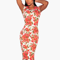 Floral Print Cut-Out Sleeve Bodycon Midi Dress