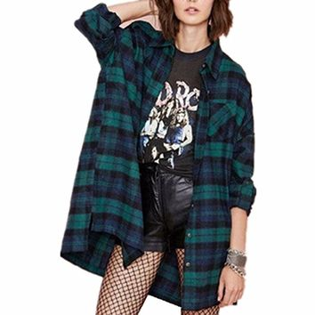 Women's Fannel Plaid Check Long Sleeve Shirts Buffalo Loose Casual Tartan Cardigan Blouse