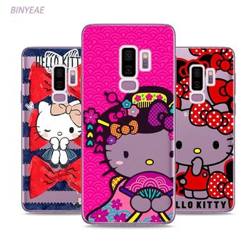 BINYEAE Cute Hello Kitty Style Clear Soft TPU Phone Cases For Samsung Galaxy S9 S8 Plus S7 S6 S5 S4 Mini Edge