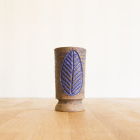 1960s Swedish Laholm Vase Earthenware Blue Vintage Keramik
