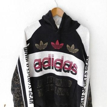 25% SALE Vintage ADIDAS RUN Dmc Big Logo 90's Sweater Hooded Hoodie Hip Hop Sweatshirt
