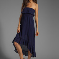 Bobi Gauze Strapless Ruffle Dress in Yacht from REVOLVEclothing.com