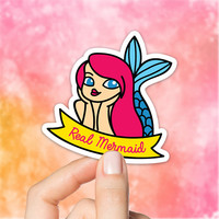 Cute Mermaid Sticker, Planner Sticker, Erin Condren, Happy Planner, Little Mermaid, Mermaid Stickers, Vinyl Stickers, S165
